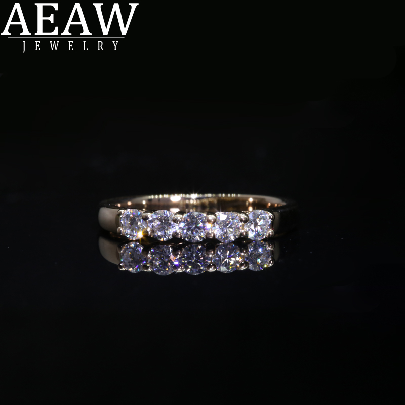 AEAW 18k Yellow Gold 0.1ct 3mm Total 0.5ctw DF Round Cut Engagement&Wedding Moissanite Lab Grown Diamond Band Ring For Women