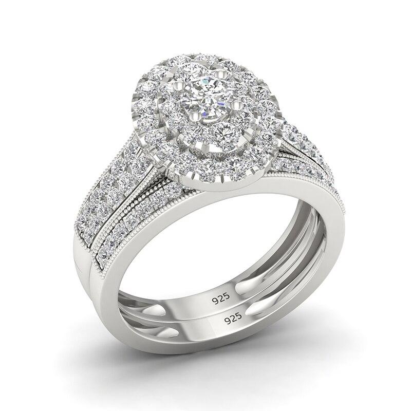 Szjinao Double bague en or blanc diamant pour les femmes accessoires de fiançailles de mariage pierres précieuses anneaux 925 bijoux de mariée en argent Sterling