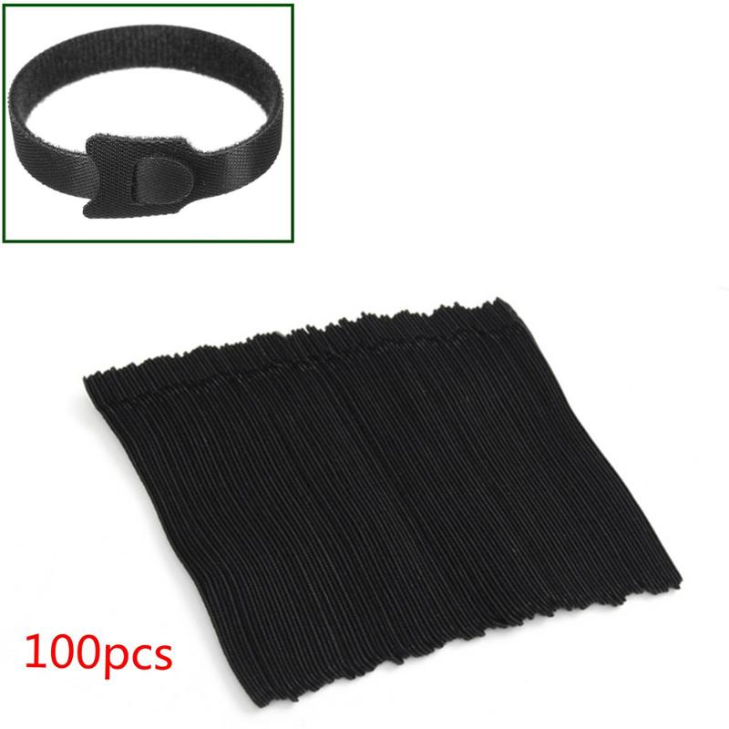 100pcs Reusable Nylon Self Adhesive Hook and Loop Fasteners Tape Cable Ties Strap Cord Band Wire Tidy Organizer