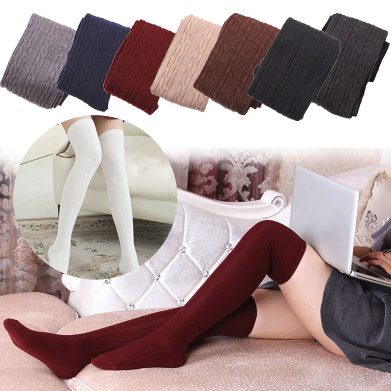 Fashion Autumn Winter Women Wool Braid Over Knee Socks Thigh Highs Twist Hose Warm Stockings LF88