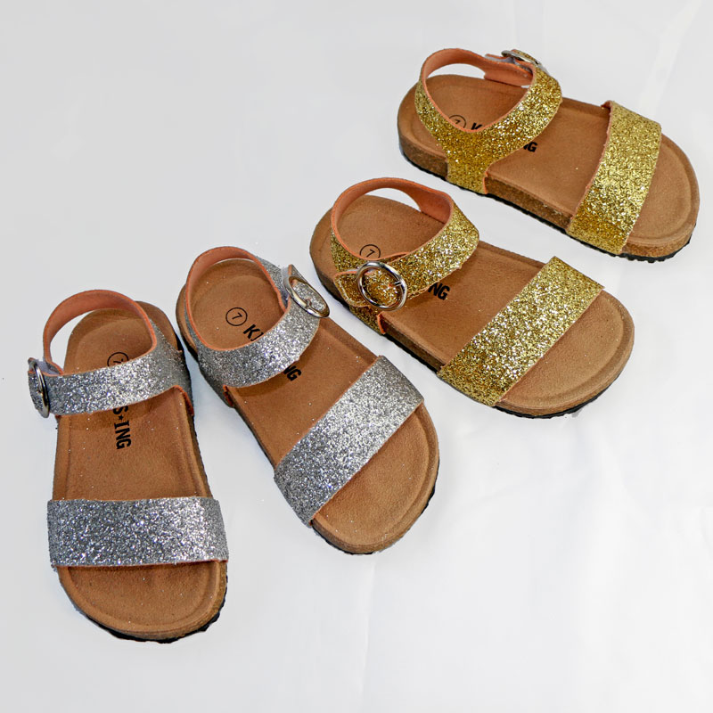 2020 New Summer Giltter Kids Sandals Corks Girls Shoes HOOK&LOOP PU Leather Bling Beach Slides Casual Shoes Slip On Orthopedic