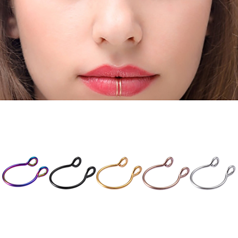 1-5pcs U Shaped Fake Nose Ring Septum Piercing Lip Rings Set Hoop Gold Stud Stainless Steel Horseshoe Body Jewelry for Women 20G