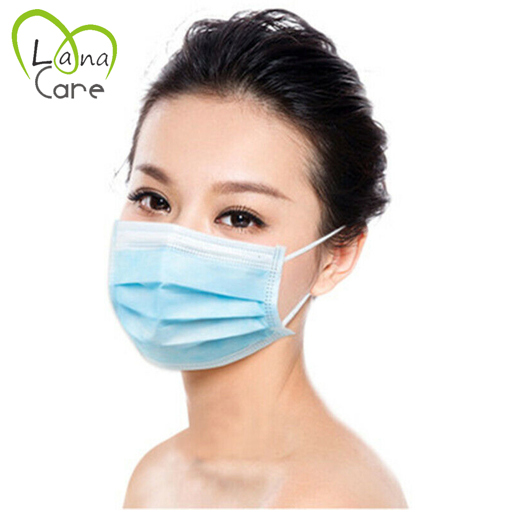 1PCS Blue Mask Face Mouth Masks Proof Mask Disposable 3 Layers Non-woven Anti-adust Mask