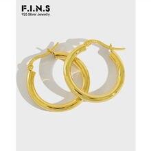 Серьги кольца из серебра s925 пробы в минималистическом стиле
