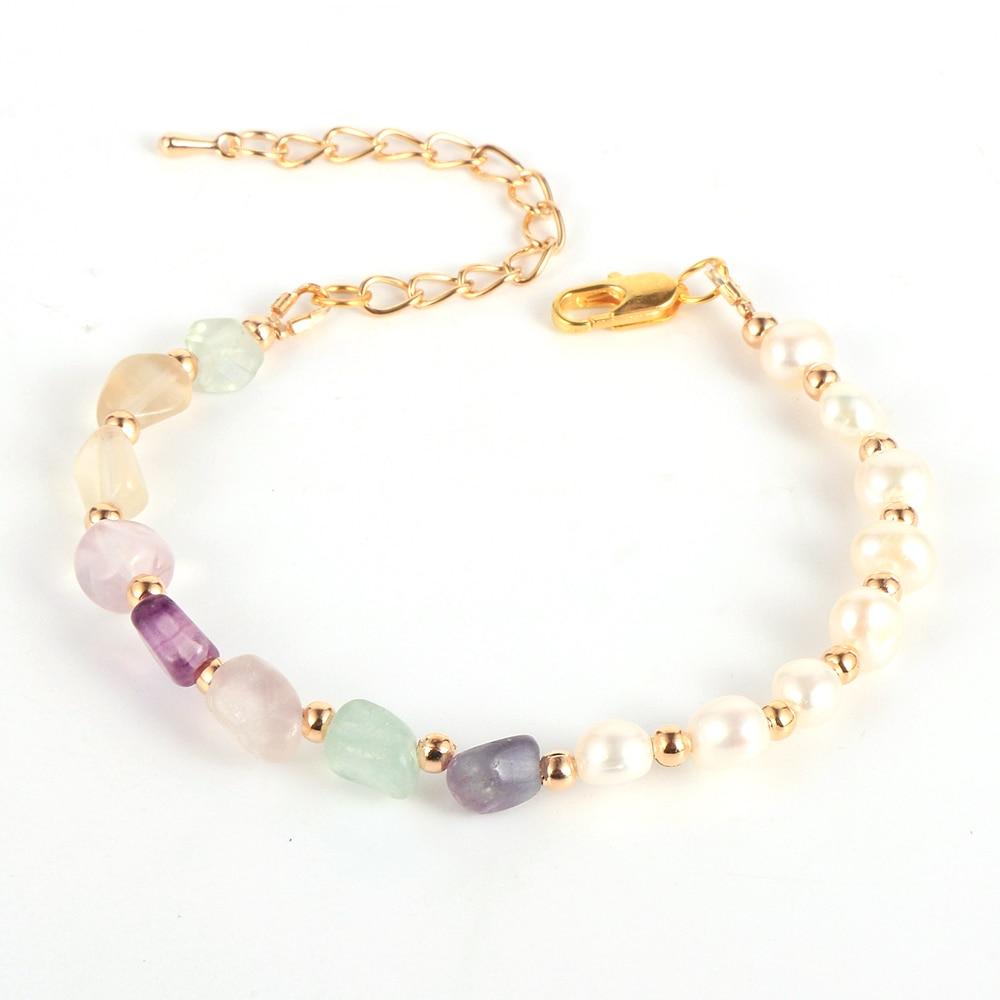 2020 Fashion Baroque Pearl Natural Stone Beaded Bracelet For Women BOHO Irregular Crystal Labradorite Bead Chains Trendy Jewelry