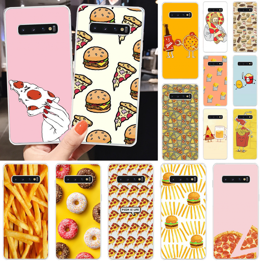 Reayou Pizza French fries Doughnut food Phone Case Cover for Samsung S10 S10 Plus S9 S9 Plus S8 S8plus S7 S6 Mobile Cases