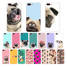 HOUSTMUST Cute PUG soft silicone cover for iphone x xr xs max 7 8 6s 6 plus 5s 5 10 se case shell cartoon pet dog funny design