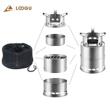 LOOGU Stainless Steel Wood Stove Outdoor Camping Cooking Portable Foldable Burn Wood Heater for Hiking Fishing Picnic BBQ Heat