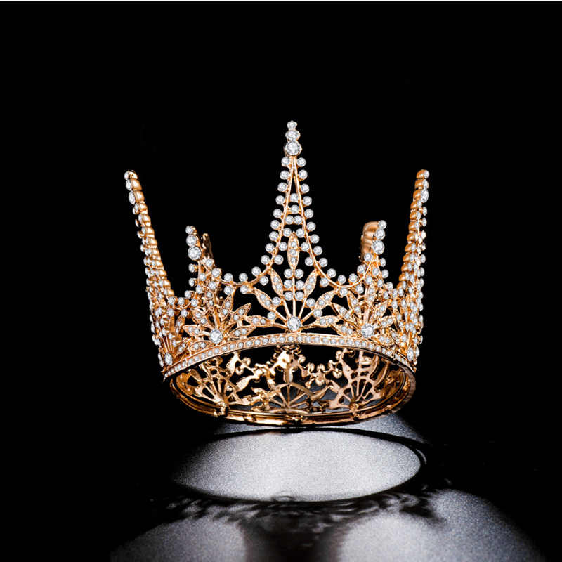 HG11370 Classic Baroque round tiara crown elegant gold rhinestone crown fashion bridal wedding headpiece hair accessories