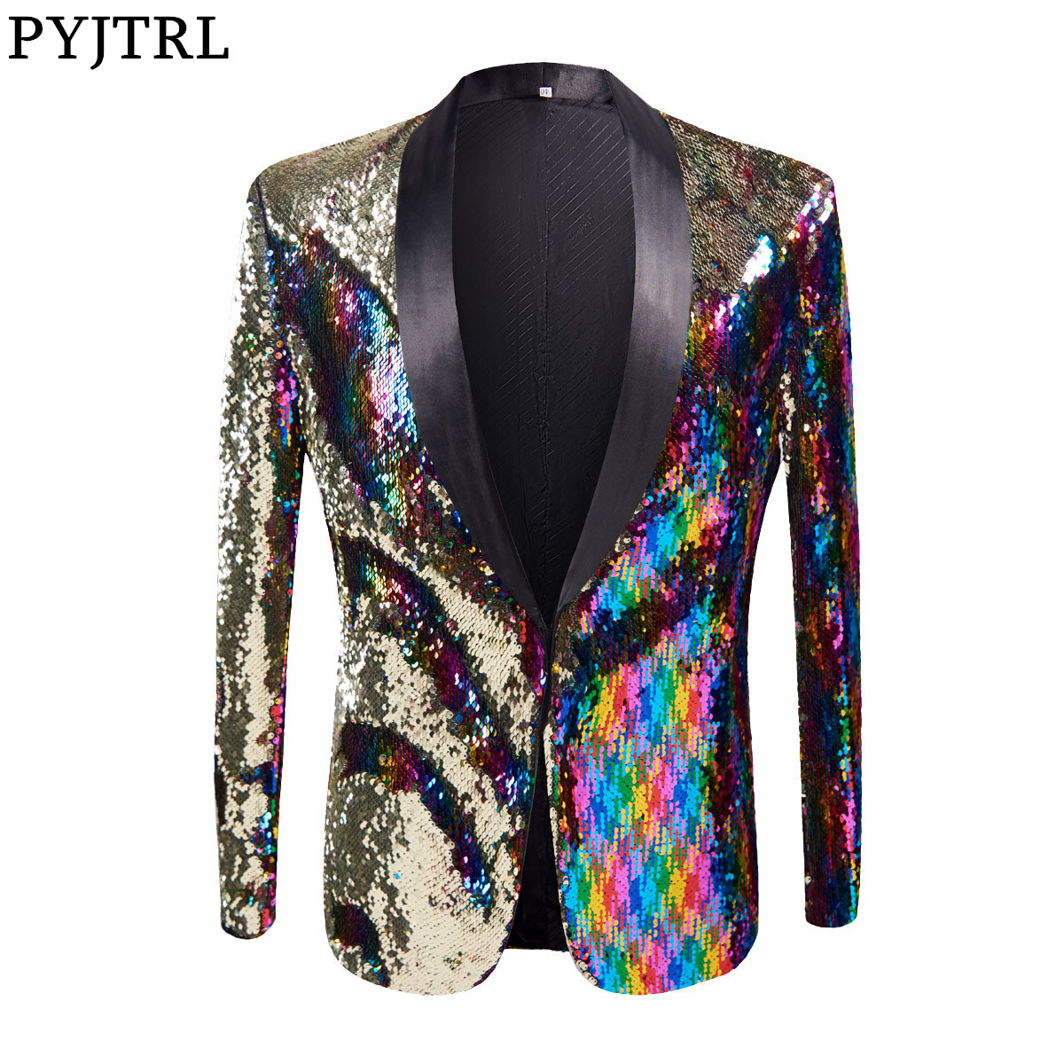 PYJTRL Full Sequins Series Mens Stylish Gold Colorized Double-Color Sequins Blazer Nightclub Stage Singer Costume Suit Jacket