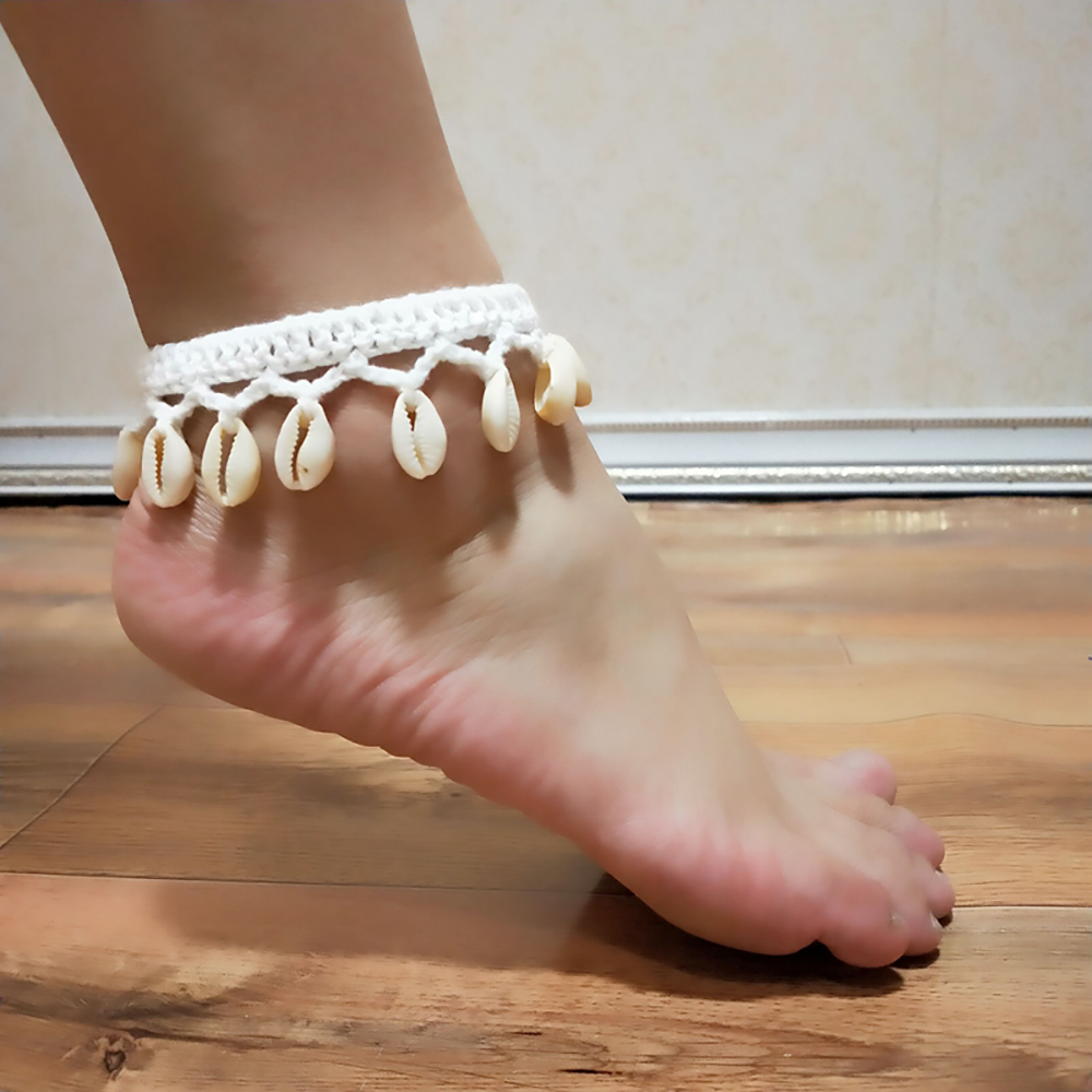 Simple Seashell Ankle Chain Crochet Pendant Anklet Bohemian Foot Jewelry Summer Beach Anklets On Foot Ankle Bracelets