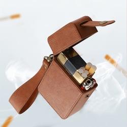 Skórzane etui na papierosy luksusowe PU skórzane pudełko na papierosy uchwyt o dużej pojemności lżejsze rękawy gadżety dla kobiet mężczyzn