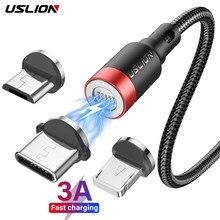 Uslion 3a cabo magnético de carregamento rápido para iphone 12 11 xs max xr micro cabo usb tipo c 8 pinos cabo para xiaomi redmi 10 huawei