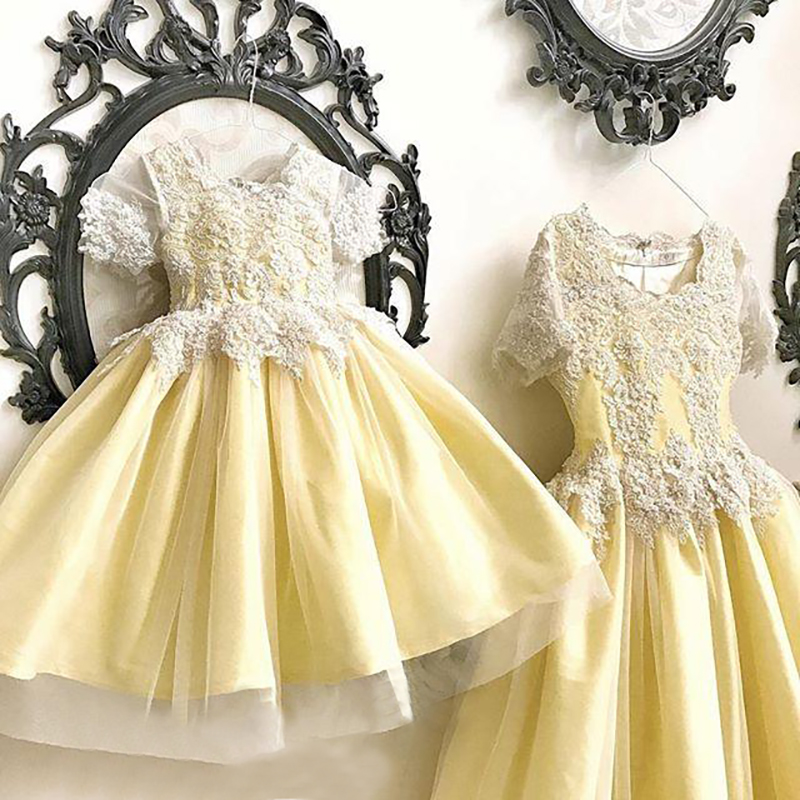 Cap Sleeves Little Girls Lace Dress Mother Daughter Nina Vestidos Kids Ball Gown Wedding Party Formal Yellow Flower Girl Dresses