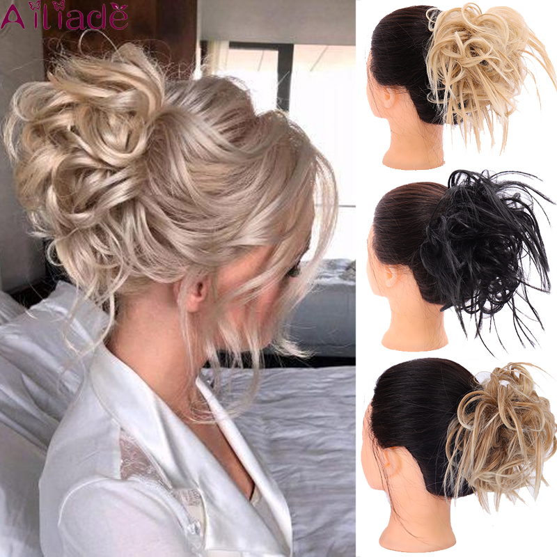 AILIADE Messy Bun Tousled Hairpiece Elastic Band Chignon Hair Curly Scrunchie Updo Cover Synthetic Hair Extension For Women