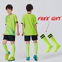 Jersey Soccer-Uniform Football-Shirts Sublimation-Set Training-Suit Free-Socks Girl Boys