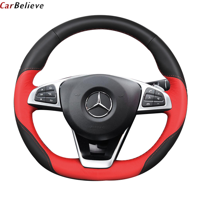 Genuine Leather car steering <font><b>wheel</b></font> cover For mercedes w210 w140 w203 w163 ml w163 <font><b>w124</b></font> e class cla steering <font><b>wheel</b></font> accessories image