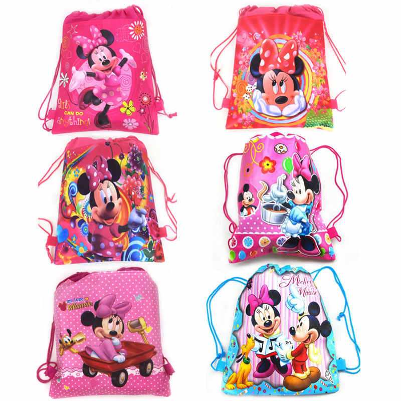 1Pcs Minnie Mouse Party Drawstring Bag Girl Travel School Backpack Kid Birthday Baby Shower Non-woven Gift Bag Supplies