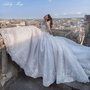 Image 1 - Adoly Mey Luxury Appliques Long Sleeve Beaded A Line Wedding Dress 2020 Romantic Scoop Neck Lace Up Vintage Bride Gown Plus Size