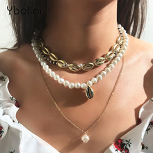 Bohemian Statement Shell Multi-layer Necklaces For Women Choker Gold Chain Necklace Faux Pearl Beaded Beach Summer Jewelry цена в Москве и Питере