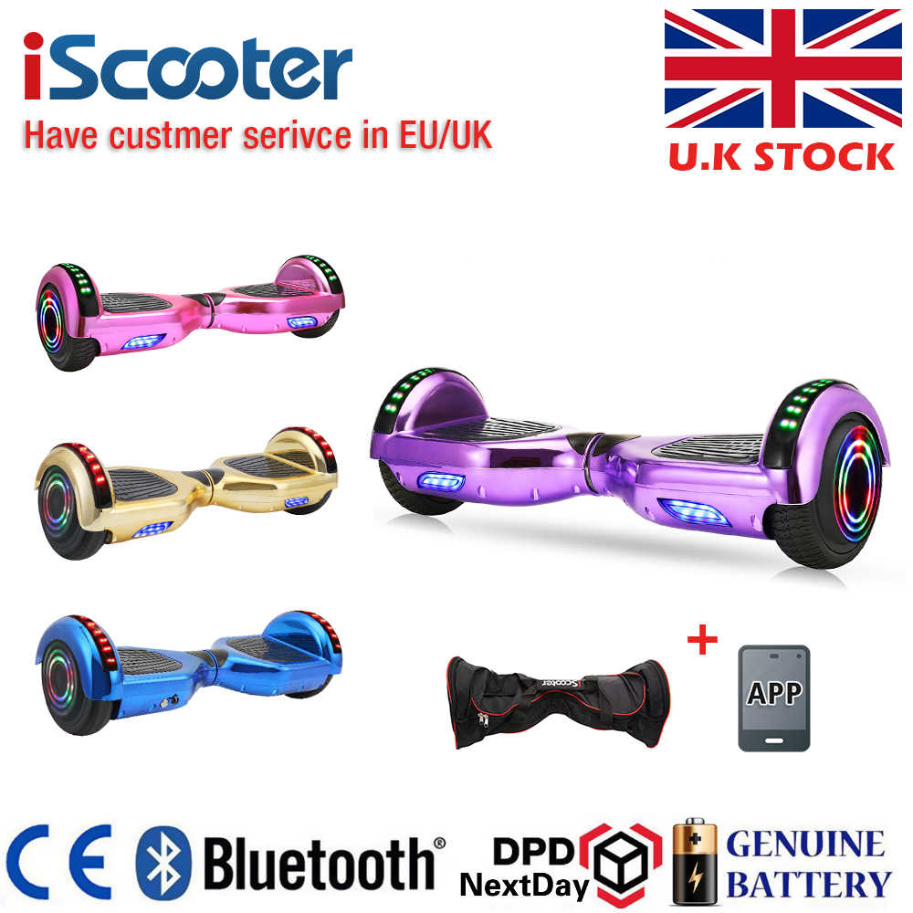 UL2722 Hoverboard 6.5 Inch Bluetooth Warna Krom Listrik Skateboard Bike Smart 2 Sheel Diri Balance Standing Scooter