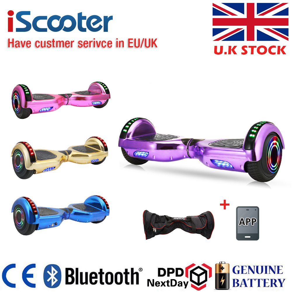 UL2722 Hoverboard 6.5 Inch Bluetooth Chrome Color Electric Skateboard Steering-wheel Smart 2 Sheel Self Balance Standing Scooter