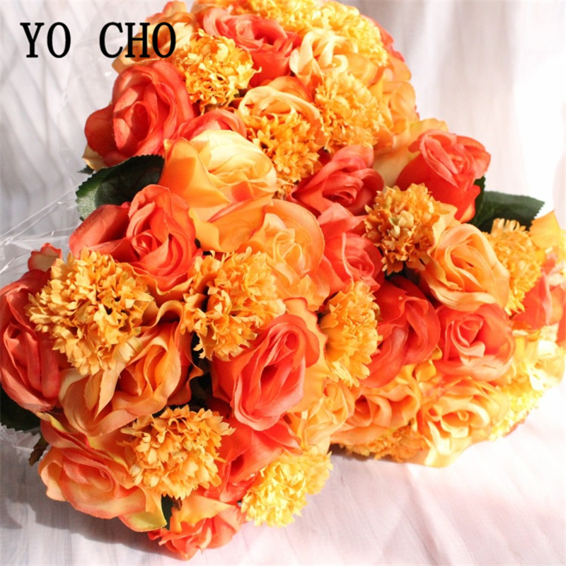 YO CHO 16pc Silk Rose Carnation Artificial Flower Bouquet Wedding Party Decoration DIY Faux Flore Scrapbooking Craft Fake Flower