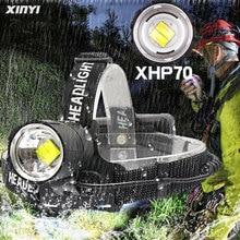 En güçlü 80000LM XHP70.2 Led far far yakınlaştırma cob kafa lambası el feneri torch fener açık, kullanımı 3*18650 pil