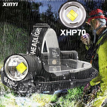 Most Powerful 80000LM XHP70.2 Led headlamp Headlight zoom cob head lamp flashlight torch Lanter for outdoor ,Use 3*18650 battery