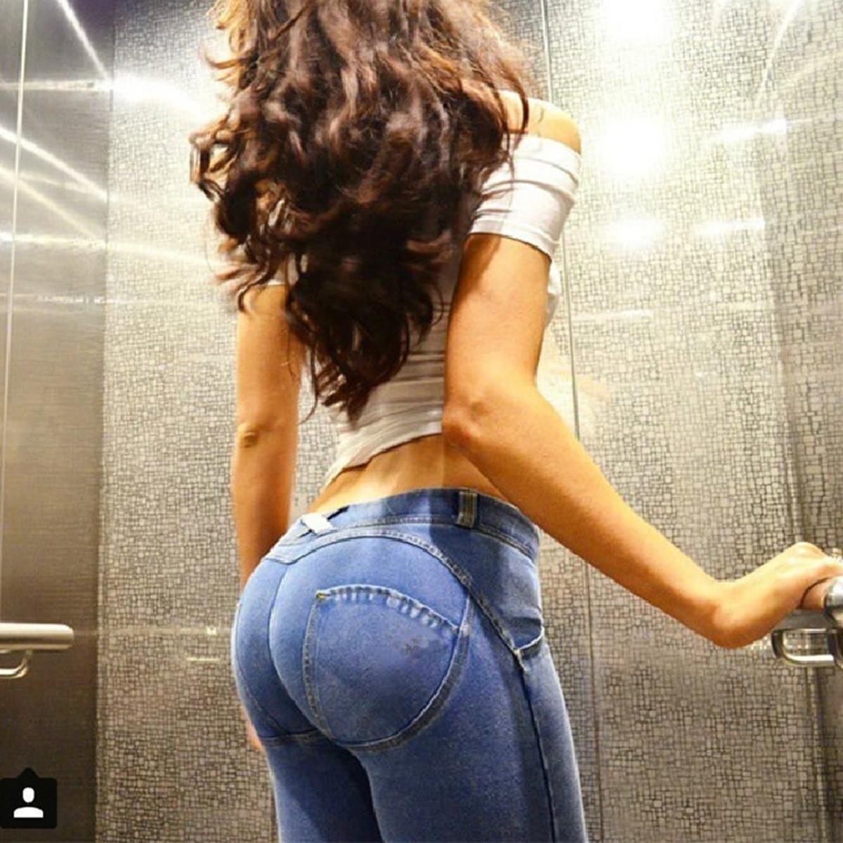 Fashion Summer Autumn Denim Push Up Slim Jeans Woman Bodycon Honey Peach Hip Elastic Waist Stretch Jeans Sexy Skinny Denim Pants