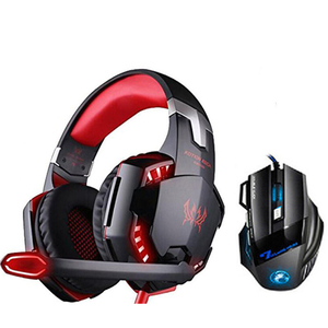 Kotion Each Gaming Headphones + Gaming Mousee Deep Bass Headset with Microphone Led Light for PC Computer Gamer PS4 Tablet