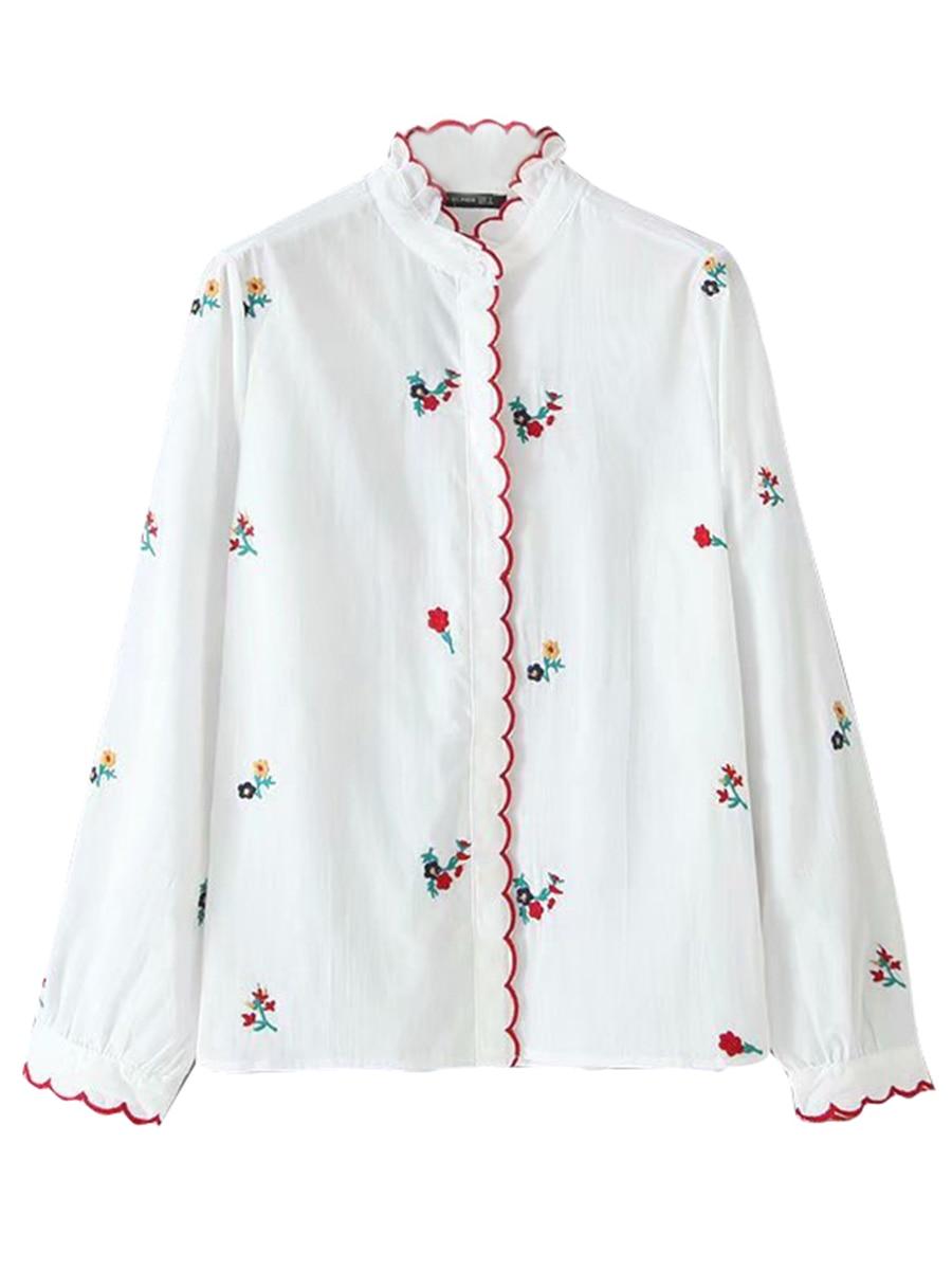 カジュアルなヴィンテージトップス Health 花刺繍白ブラウス秋の女性長袖カラーレース細工シックなルースシャツ IOW 6