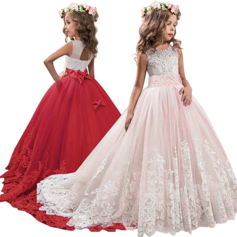 Girl Elegant Wedding Dress Pearl Petals Girl Dress Princess Party Pageant Lace Tulle Long Dress For 6 7 8 9 10 11 12 13 14 Yrs