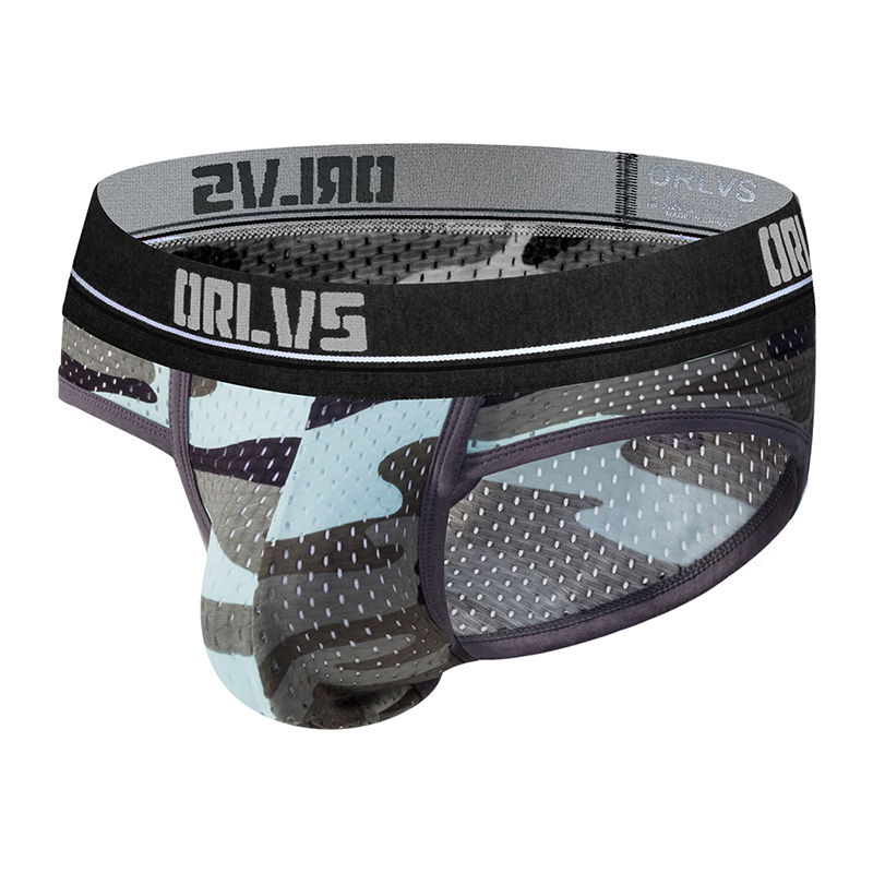 2020 ORLVS Brand Camouflage Sexy Underwear Briefs Men Mesh Underpants Cueca U Pouch Male Panties Mens Briefs OR187