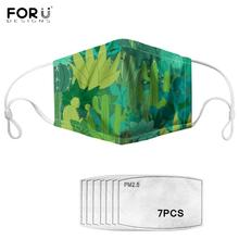 Elastic Anti Pollution Mouth Half Face Cover Green Leaves Pattern Printing Men Breathable Elastic Mask with Filters