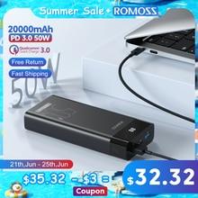 ROMOSS PPD20 50W Power Bank 20000 mAh PD QC Quick Charge 20000 mAh Power Tragbare Externe Ladegerät Für Smartphone laptop