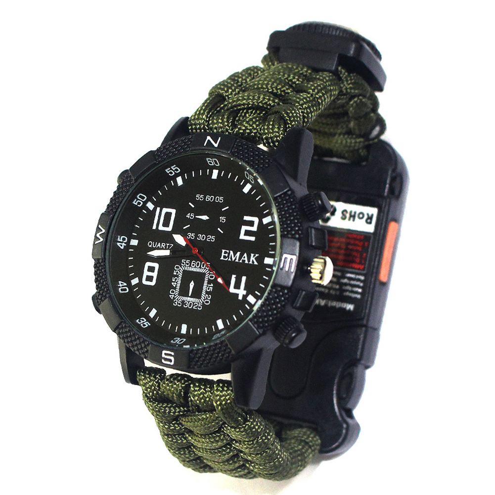 6 in 1 Survival Outdoor Watch EDC Rope Rescue Tactical Camping Multifunction Emergency Safety Equipment Tools Bracelet Watch|Safety & Survival| |  - title=