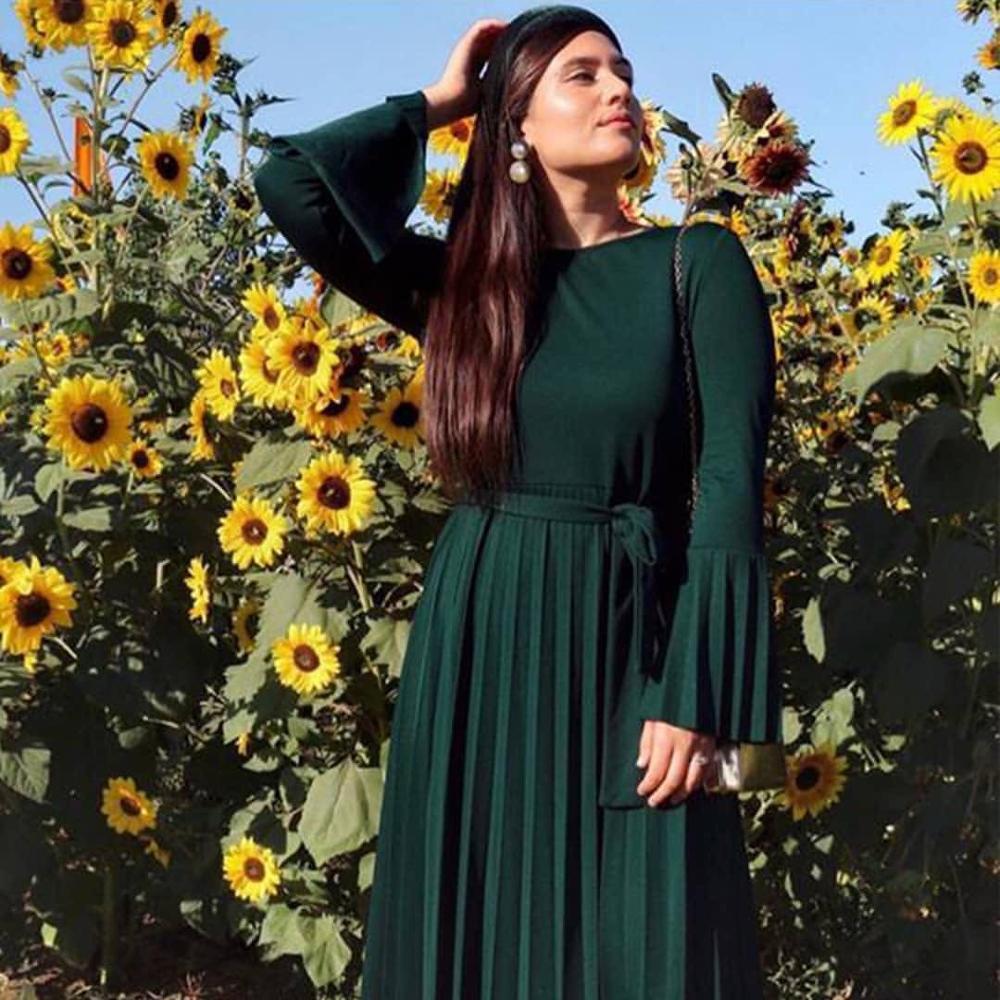 Fashion Ramadan Full Length Pleasted Hijab Muslim Dress Female Caftan Turkish Islamic Kaftan Robe Musulman Abayas F1379