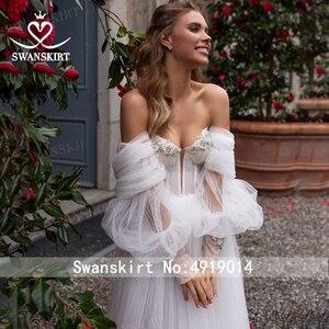 Image 3 - Sweetheart ozdobiony paciorkami ślubny sukienka 2 w 1 odpinany Off ramię Ruched Tulle linia Swanskirt D101 suknia ślubna Vestido de novia