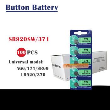 100 sztuk 371 akumulator SR69 SR920W SR920SW AG6 L921 605 620 280-31 280-51 przycisk komórki baterie do zegarków tlenku srebra do sprzedaży detalicznej karty tanie i dobre opinie LITELONG Tlenek srebra 35mah 9 5x2 1mm SR920SW 371