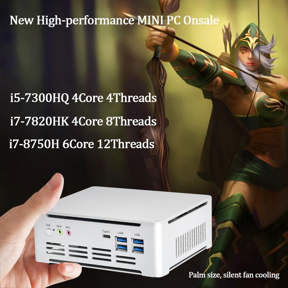 Новейший мини-ПК IntelCore 7-го поколения i5 7300HQ/i7 7820HK Intel UHD630 win10 4 ядра 8 потоков 2,4G + 5G + Bluetooth NUC Бесплатная доставка
