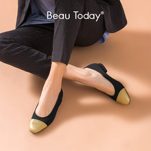 BeauToday Shallow Pumps Women Genuine Cow Leather Cloth Round Toe Slip On Spring Autumn Lady Low Heel Shoes Handmade 18034