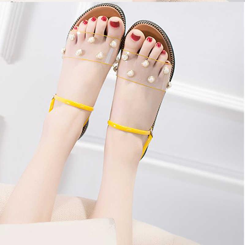 Frauen Sommer PVC Flache Hausschuhe Frau Transparent Slip Auf Zwei Tragen Sandalen Weibliche Offene spitze Perle Border Mode Schuhe Damen neue