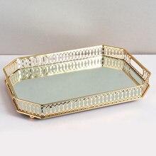 Plateau de présentation de bijoux en métal miroir, plateau géométrique, or, rangement de bijoux, bague, plateau de décoration