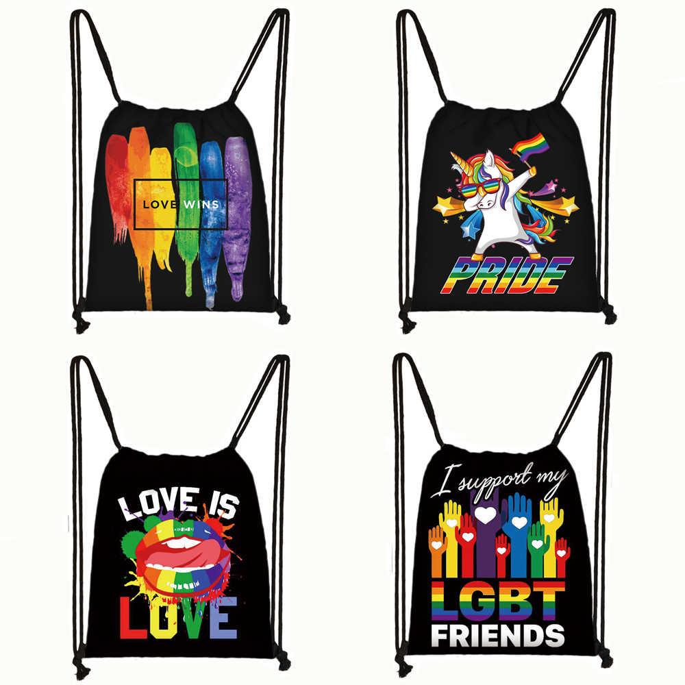 Stolz Lgbt Homosexuell Liebe Lesben Regenbogen Druck Kordelzug Tasche Mann und Frauen Rucksack Tupfen Regenbogen Einhorn Lagerung Taschen Geschenk