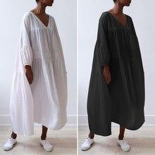 Şık pilili elbiseler Vintage uzun kollu elbise gevşek Maxi uzun elbise sonbahar moda Sundress emme rahat gevşek elbise elbise