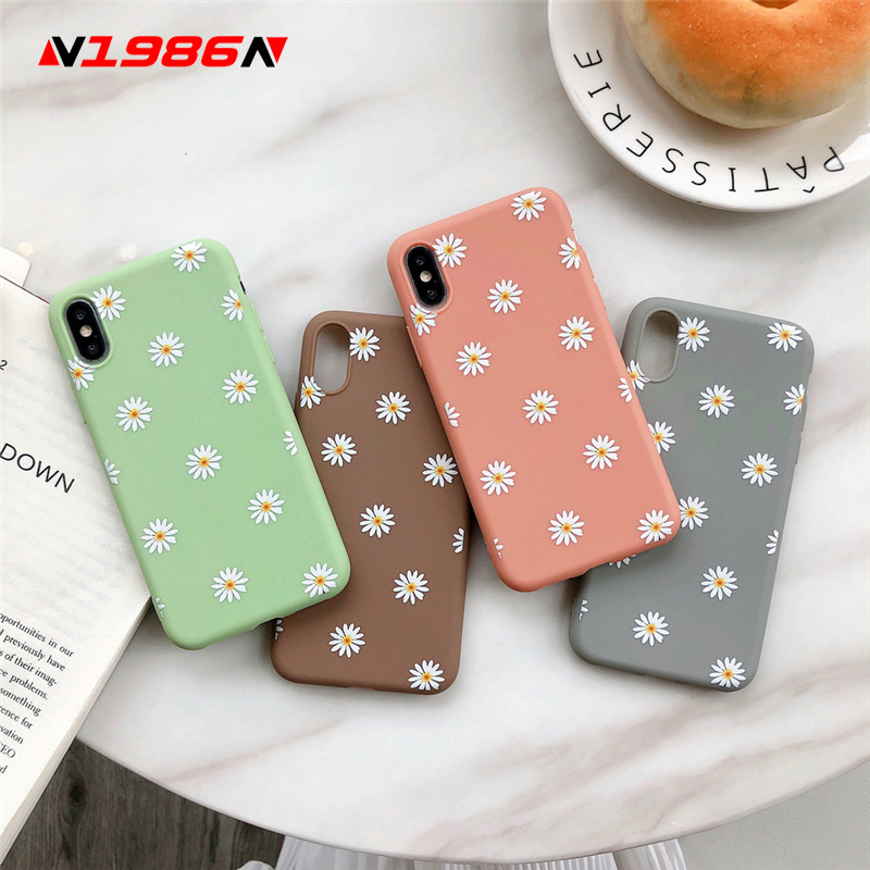N1986N For IPhone 6 6s 7 8 Plus X XR XS Max Phone Case Fashion Beautiful Daisy Flower Candy Color Soft TPU Silicone For IPhone X