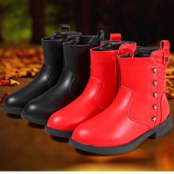 Girls boots winter cotton shoes 2019 new winter fashion princess two cotton boots in older children's leather Martin shoes