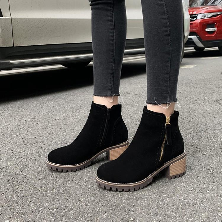 Womens Chelsea Boots,Ladies Fashion Zipper Square Mid-Heel Solid Autumn Pointed Toe Booties Ankle Boot Shoes