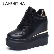 2020 Women High Platform Shoes Autumn Breathable Leather Casual Shoes Height Increasing Shoes 12 CM Thick Sole Ladies Sneakers